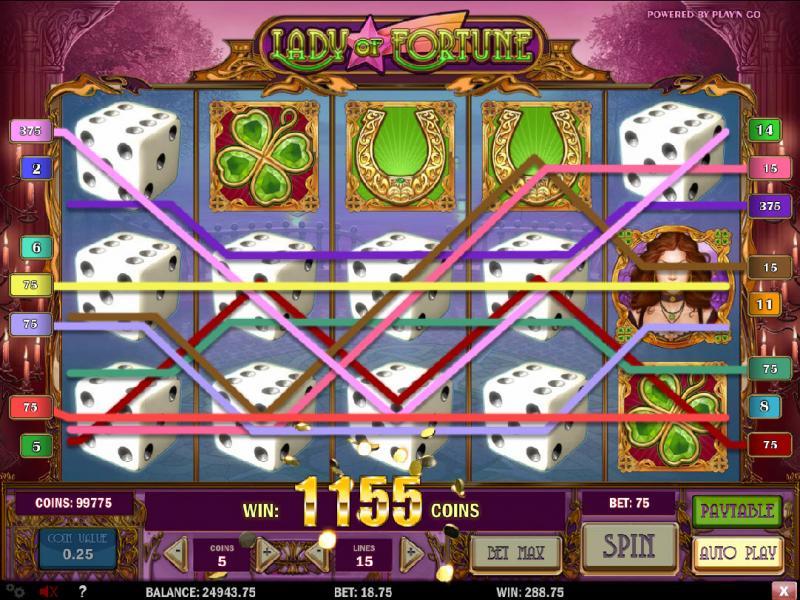 выигрыш в игровом автомате lady of fortune